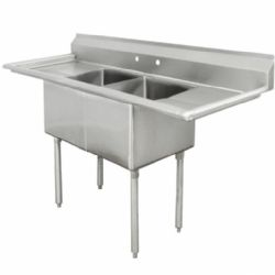 USED THREE BAY COMMERCIAL STAINLESS STEEL SINK $499