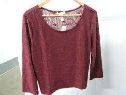 Blouse Dressy Lace Knit Blouse in Burgundy. Sz 2XL